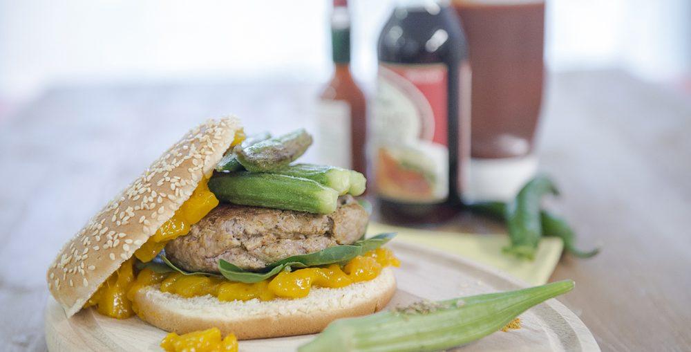 hamburger indiano primo piano panino gourmet