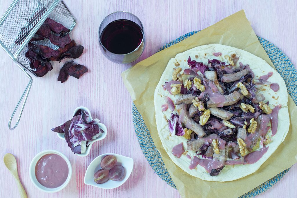 wrap viola noci uva radicchio