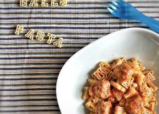 Meatballs letters pasta