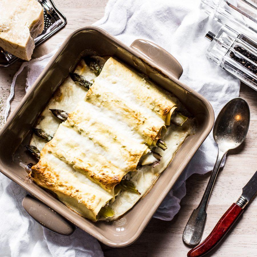 Cannelloni con ragù veloce di vitello e asparagi