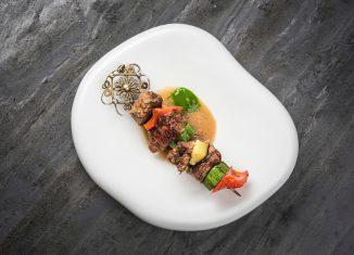spiedino di arrosto di vitello con verdure