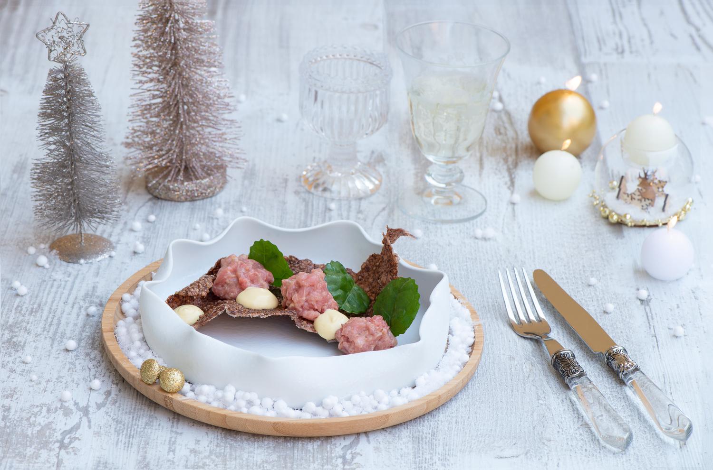 Antipasti Di Natale In Toscana.Natale Sfizioso Cialde Di Riso Rosso Tartare Di Vitello E Maionese Al Tartufo Sfizioso It