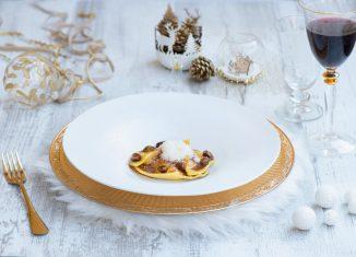 Natale Sfizioso ravioli di pasta fresca con ripieno di vitello, caprino e marsala