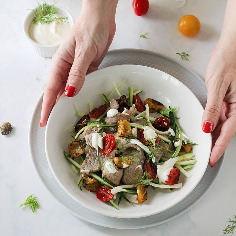 ricetta straccetti skyr zucchine e pomodori